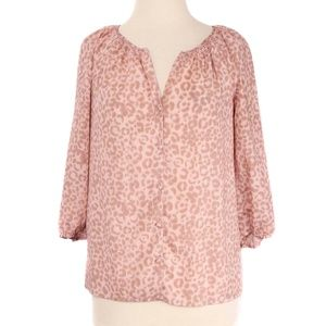 Ann Taylor LOFT Pink Cheetah Print Button Blouse